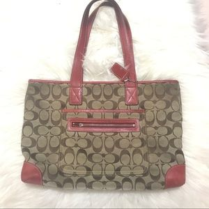 Spell Out COACH Purse Hand Bag Authentic Red Brown
